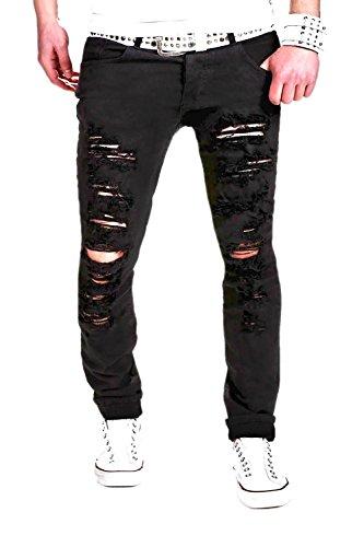 MT Styles Destroyed Jeans Slim Fit RJ-2094 Schwarz