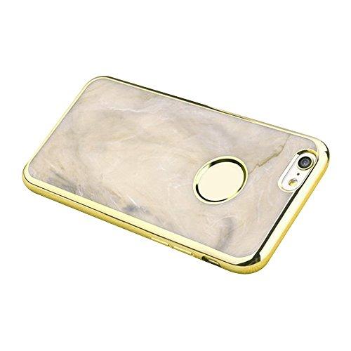 Cuitan Luxus Electroplate Weiche TPU Jade Muster Hülle für iPhone 6 / 6S, Mode Kreative Pattern Design Ultra Slim Plating Rück Abdeckung Schutzhülle Tasche Case Cover Handytasche Rückseite Tasche Back Marmor