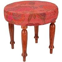 Indian Wooden Footstool Round Wood Foot Stool With Cotton Kantha Work Size 17 X 17 Inches preisvergleich bei kinderzimmerdekopreise.eu