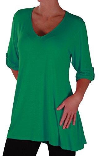Lange Ärmel Plus Größe T-shirt (Eyecatch Plus - Shellie Damen V-Ausschnitt Tunika Übergröße Frauen Ausgestelltes Langes Top Jade Grun Gr. 50/52)