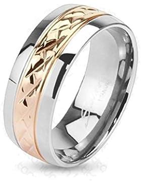 Paula & Fritz® solider Titan Ring silber 6 mm Streifenband rosé vergoldet Ringgrößen: 47(15) – 57 (18) R-TM-3700-6