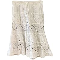 Mogul Interior Womens Retro Skirts White Sequin Gypsy Sexy Casual Festive Skirt