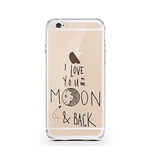 """licaso® Hülle für iPhone 6 6S 4,7"""" TPU Love Life iPhone 6 Case transparent Sketch klare Schutzhülle iphone6 Tasche Liebe für immer Unendlichkeit Infinity iPhone 6 Hülle Comic Hülle Cases (Love Life) Moon and Back"""