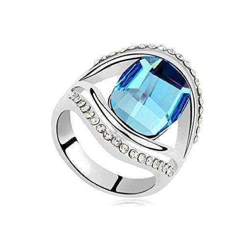 Epinki anello placcato oro per donna fedi nuziali oceano blu cavo ovale zirconi anello misura 13