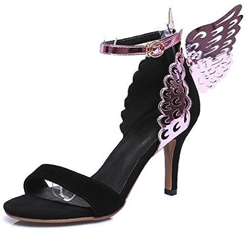 HYLM Femelle Sandales Nouveau Européen et Américain Violet Papillon Décoratif Toe ouvert Talons hauts Fête de mariage Femmes Sandales , purple , 38