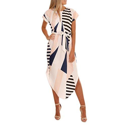 MRULIC Abendkleid Damen Unregelmäßiges Kleid Beiläufiges Kurzes Hülsen-V-Ausschnitt Gedrucktes Maxi Kleid mit Gurt Clubwear Parteikleid -