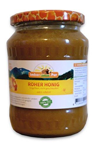 Miele Grezzo di ImkerPur, Vasetto 1000g, Miele non filtrato, Miele non riscaldato, Miele non pastorizzato, Miele puro e naturale al 100%, con polline, cera d'api, propoli, pane d'api e pappa reale