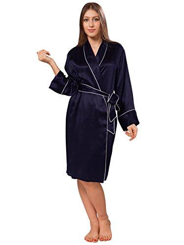 ELLESILK Elegant Seide Nachtwäsche für Damen, Qualität Seide Damen Morgenmantel, Super Atmungsaktiv, Navyblau/Weiß, M -