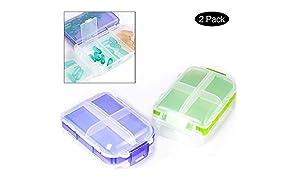 PuTwo PortaPillole Grande capacità Pillole Organizzatore per Il Viaggiot 2 Pezzi Promemoria per Pillole Scatole giornaliere - Viola e Verde