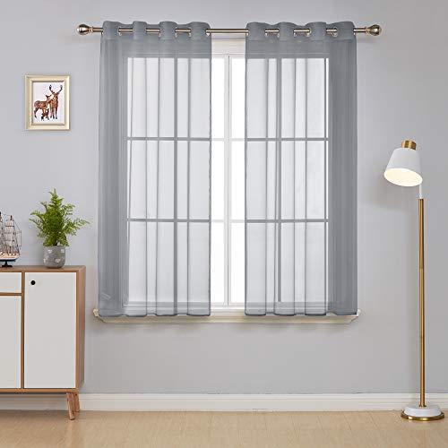 Deconovo 2er Set Gardinen Transparent Ösenvorhang Voile Vorhang 138x140 cm Grau