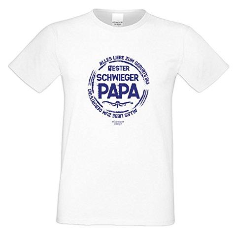 Geburtstagsgeschenk Papa Vater Schwiegervater :-: Motiv Kurzarm T-Shirt mit Geburtstagsaufdruck :-: Bester Schwiegerpapa :-: auch in Übergrößen 3XL 4XL 5XL :-: Farbe: weiss Weiß