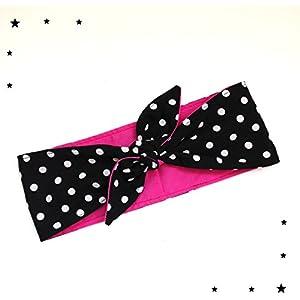 Rockabilly Haarband Polka Dots schwarz pink