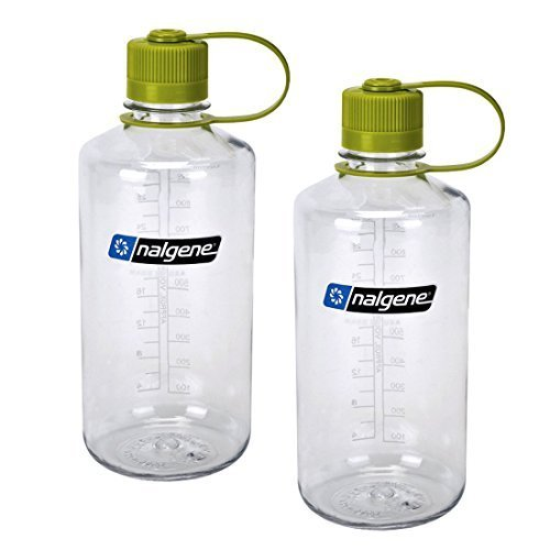 Nalgene Narrow Mouth 1 qt Everyday Water Bottle - 2 Pack (Clear With Green Lid) by Nalgene -