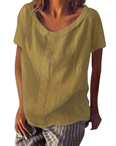 Shallood Minetom Sommer Neu Damen Große Größen Leinen Einfarbig mit Rundhals Kurzarm T-Shirt Lose Tops Oberteile Bluse A Gelb DE 46 -