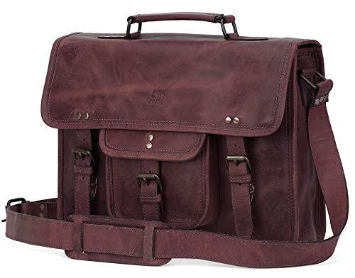 Rustic Town 'Hunter' Aktentasche Leder Herren Vintage groß Klassische Arbeitstasche Bürotasche Umhängetasche Dokumententasche mit Laptopfach 13,3 Zoll (dunkel braun)