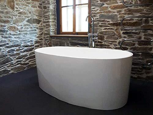 Freistehende Badewanne Mineralguss - oval weiß - inkl. Ablaufventil & Siphon - 155x80 - M