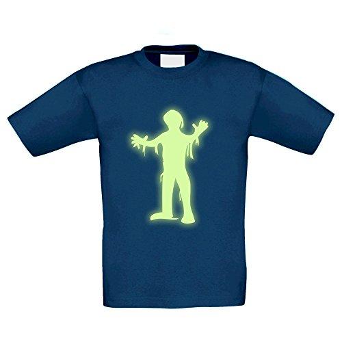 T-Shirt Kinder Halloween -- Mumie, dunkelblau-glow, (Mumie Halloween Kostüm Ideen)