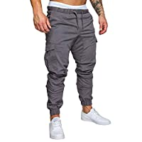 Tomwell Mens Cargo Trousers Slim Fit Jeans Skinny Elastic Drawstring Chinos Pants with Pockets Fashion Casual Sports Grey Large