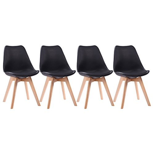 Happy Garden Lot de 4 chaises scandinaves Nora Noires avec Couss