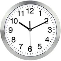 Naughty Monkey INC Wall Clock Metal Frame Glass Cover Non-ticking Number Quartz Wall Clock 12inch Modern Quartz Design Decorative Indoor/Kitchen(Silver) …