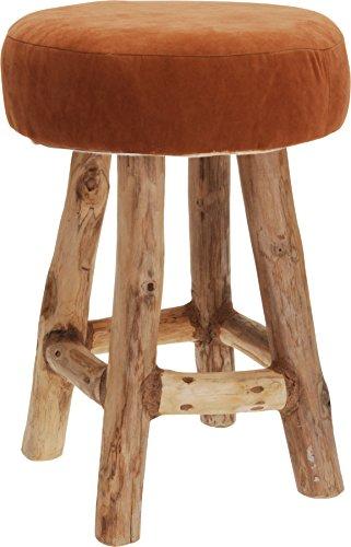 Hocker Polsterhocker Sessel Stuhl Holz Barhocker Barstuhl Bistrostuhl Sitzbank (Rotbraun)
