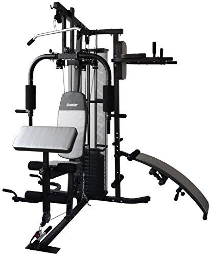 Gregster Kraftstation/ Homegym mit 55kg Gewichtsplatten, Heimtrainer inkl. Brustpresse, Dip-Station, Lat-Zug, Curlpult, Sit-up Bank und Liegestützgriffe