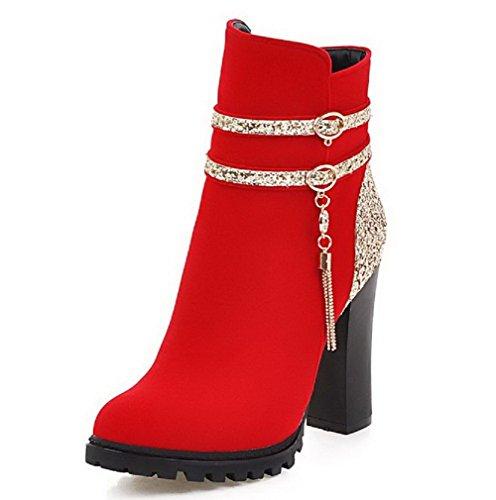 AgooLar Damen Reißverschluss Hoher Absatz Eingelegt Niedrig-Spitze Stiefel mit Paillette Rot vFqKN1h