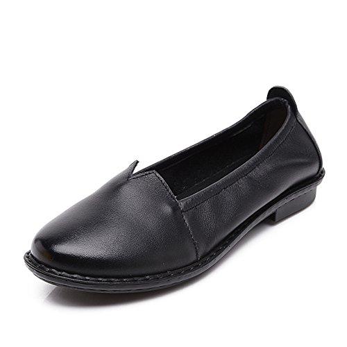 Scarpe piatte con mia madre/Medio fondo morbido confortevole donne e scarpe invecchiate donne vecchie/ giro in primavera e autunno periodo di scarpe della gente-A Longitud del pie=22.3CM(8.8Inch)