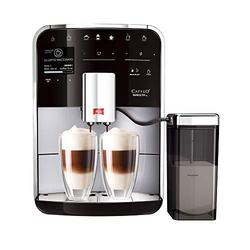 Melitta Caffeo Barista TS Smart F850-101 Kaffeevollautomat mit Milchbehälter | Smartphone-Steuerung mit Connect App | One Touch Funktion | Pro Aqua Filtertechnologie | Silber -
