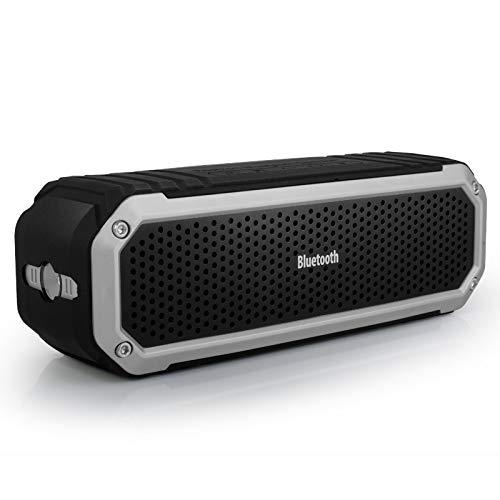 NALIA mobiler tragbarer Bluetooth Lautsprecher CSR 4.0 + Taschenlampe Freisprechfunktion für Handy Tablet PC iPhone Smartphone Wireless Speaker Box Lautsprecherbox Kabellos Soundbox, Farbe:Ice Silver