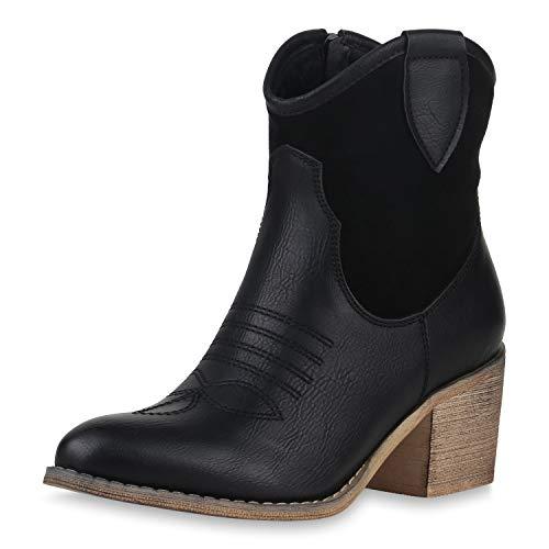 SCARPE VITA Damen Cowboy Boots Western Stiefeletten Blockabsatz Schuhe Leder-Optik Cowboystiefel Stickereien 180191 Schwarz Braun 38 (Schwarz Damen Stiefel Leder Cowboy)