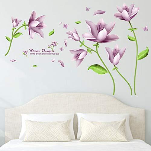 LIANGXI Wall Sticker Aufkleber 114 X 74 cm Lilie Wandaufkleber Lila Blumen Wohnkultur Wohnzimmer Wanddekoration