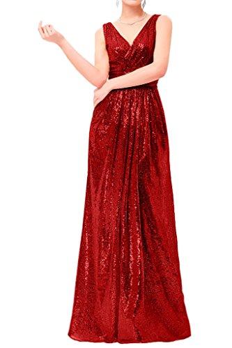 Prom Style Damen Attraktiv Pailletten V-Ausschnitt Abendkleider Ballkleider Cocktailkleider Tanzenkleider Partykleider lang Rot