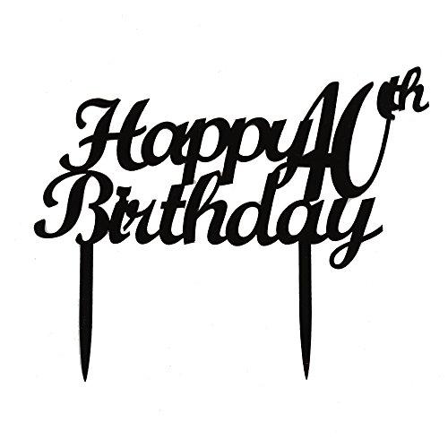 Happy 40th Birthday Cake Topper, schwarz Acryl die Vierzigsten Geburtstag Party Supplies und Dekorationen