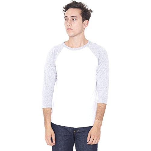 American Apparel Mens Polycotton Three-Quarter Sleeve Raglan T-Shirt Black/ White