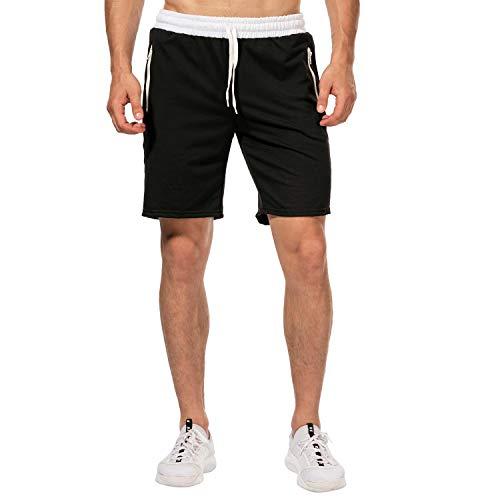 CHYU Herren Sport Joggen und Training Shorts Fitness Kurze Hose Jogging Hose Bermuda Reißverschlusstasch (L, Schwarz) -