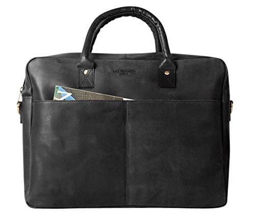 HOLZRICHTER Berlin - Briefcase (M) Premium Aktentasche aus Leder - Elegante große Tragetasche, Laptoptasche für Ordner und Laptop - Herren, schwarz
