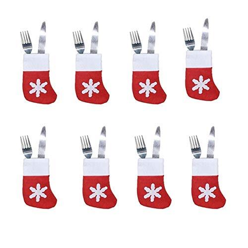 Gshy - mini calze di natale, portaposate, borsa per forchetta, coltello, decorazioni da tavolo, 12 pezzi