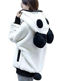 Lindo Oso Oso Panda Invierno Cálido Con Capucha Abrigo Mujeres Cremallera Tops Con Capucha Chaqueta Prendas de abrigo Pullover