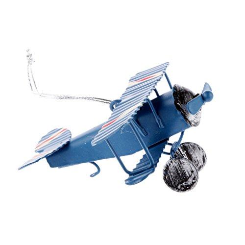 Juguete Coleccionables Aviones de Metal Modelo Biplano Decoración Oficina Casa - Azul