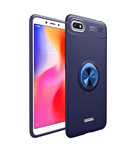 Markest Funda de Teléfono Móvil Inteligente para Xiaomi Redmi 6A, con y Soporte Magnético para Automóvil Función Tope a Prueba de Golpes de Moda (Soporte Azul con Cubierta Azul)