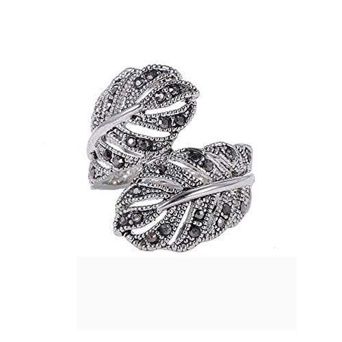AZUO Männer Frau Edelstahl Ring Creative Diamant Retro Feder Ring, 16 mm-19 mm (Schwarz),S (Schwarz Gold Weiß Diamant-ring-männer)