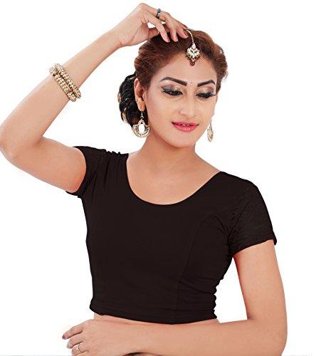 Lyneth Cotton Lycra Cap sleeve blouse (Black_Large)