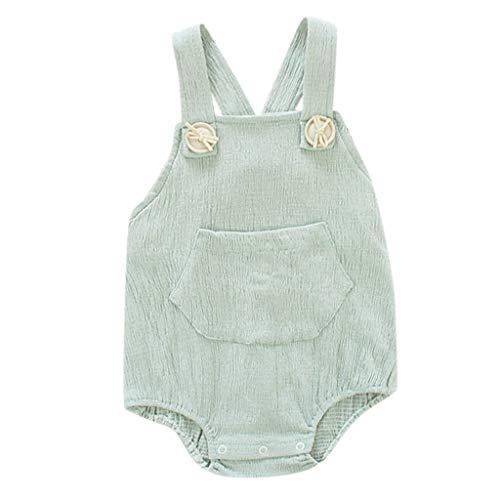 DEELIN Säuglings Baby Strampler Unisex Overall Bodysuit Kleidung Set Sommer rückenfreie Feste Hosenträger Spielanzug Ausstattungen