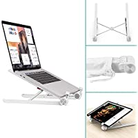 Klearlook Laptop Stand, Foldable Portable Ventilated Desktop Laptop Holder,Universal Lightweight&Space-save&Adjustable Ergonomic Tray Mount Compatible with iM ac/Laptop/Notebook Computer/Tablet-White