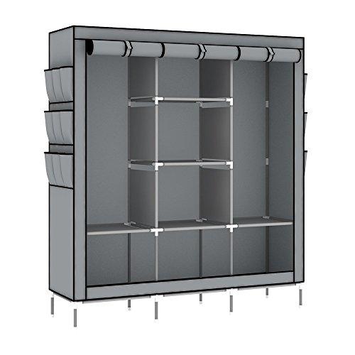 Intirilife – l'armadio diy per assemblare richiudibile con tubo appendiabiti e altri ripiani in le dimensioni 130 cm x 175 cm x 45 cm – guardaroba comò cassettone piegabile in grigio-cenere