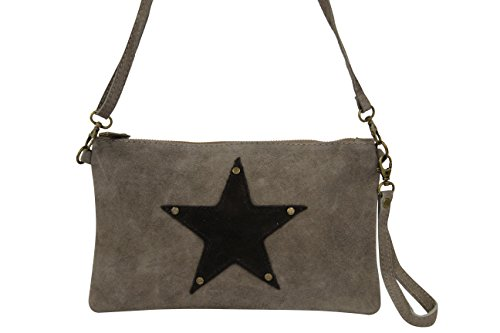AMBRA Moda Damen Wildleder Clutch Handtasche veloursleder Tasche Stern Handschlaufe WL814 Dunkelsand