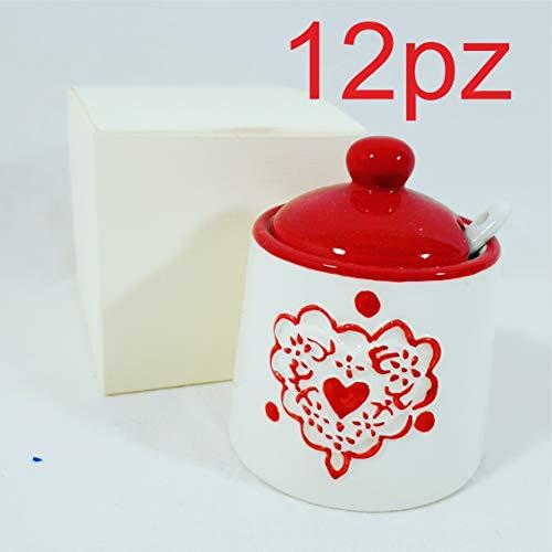 12 pz bomboniere matrimonio utili economiche zuccheriera ceramica 12 bomboniere+12cucchiaini+12scatole