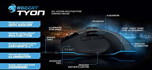 Roccat Tyon All Action Multi-Button Gaming Laser-Maus (8200dpi, 14-Tasten, USB) weiß - 2