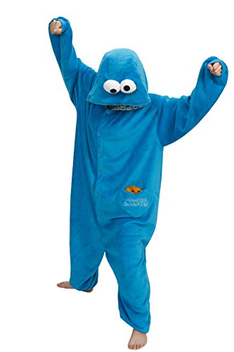 Unisex Schlummer Partei Tier Schlafanzug Kigurumi Cosplay Kostüm-Pyjamas (M, Cookie Monster) (Cookie Monster Kostüm Halloween)